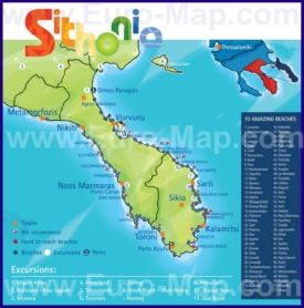 Туристическая карта Ситонии с пляжами