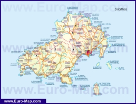 Подробная карта острова Скиатос