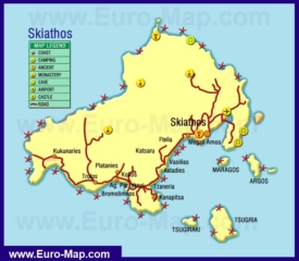 Туристическая карта Скиатоса