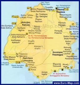 Карта острова Тасос с курортами