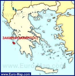 Остров Закинф (Закинтос) на карте Греции