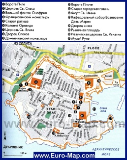 Карта Дубровника с достопримечательностями на русском языке