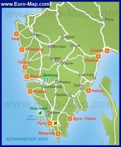 Карта Истрии с курортами