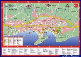 Подробная карта Макарска с отелями