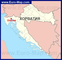Опатия на карте Хорватии