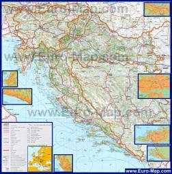 Подробная карта Хорватии с городами