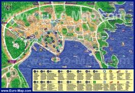 Подробная карта Пулы с достопримечательностями