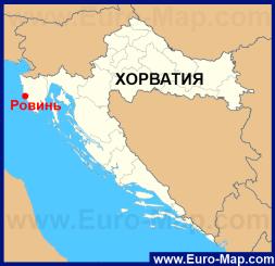 Ровинь на карте Хорватии