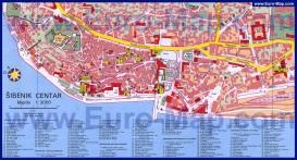 Карта Шибеника с достопримечательностями