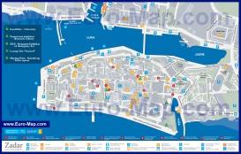 Подробная карта центра Задара с отелями