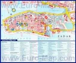 Туристическая карта Задара с достопримечательностями