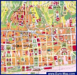 Карта города Загреб (Хорватия)