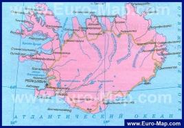 Подробная карта Исландии на русском языке