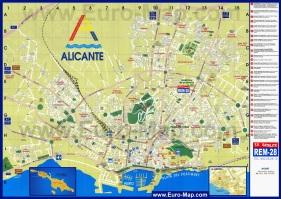 Подробная карта Аликанте с достопримечательностями