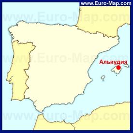 Алькудия на карте Испании
