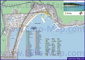 Подробная туристическая карта Алькудии с достопримечательностями