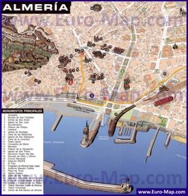 Подробная туристическая карта Альмерии с достопримечательностями