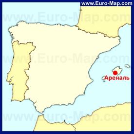 Ареналь на карте Испании