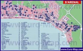 Подробная туристическая карта Ареналя с отелями
