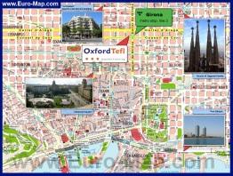 Карта города Барселона с достопримечательностями