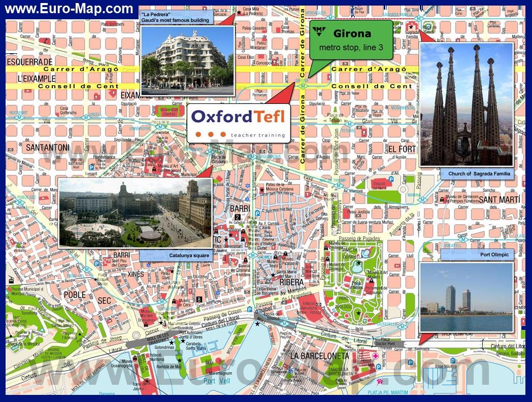 Карта города барселона с