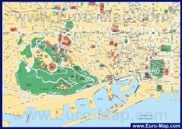 Подробная карта Барселоны с достопримечательностями