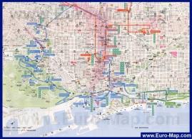Туристическая карта центра города Барселона с отелями