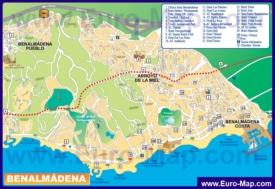 Туристическая карта Бенальмадены с отелями и достопримечательностями