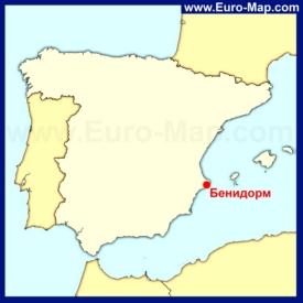 Бенидорм на карте Испании