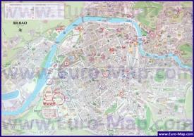 Туристическая карта Бильбао с отелями и достопримечательностями