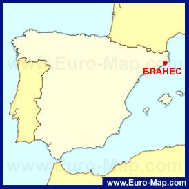 Бланес на карте Испании