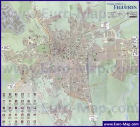Подробная туристическая карта города Фигерас с достопримечательностями