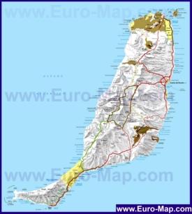 Подробная карта острова Фуэртевентура