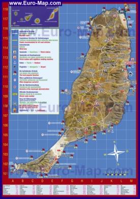 Туристическая карта Фуэртевентуры с курортами и пляжами