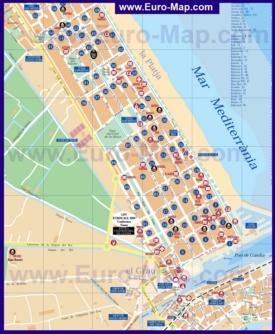 Подробная туристическая карта города Гандия