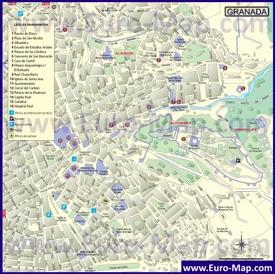 Карта Гранады с достопримечательностями