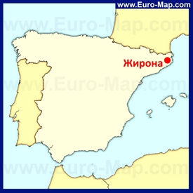Жирона на карте Испании