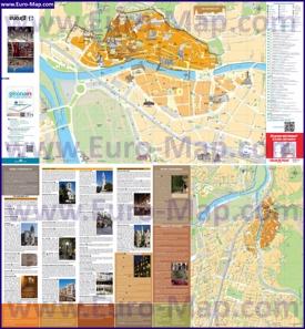 Подробная туристическая карта Жироны с отелями и достопримечательностями