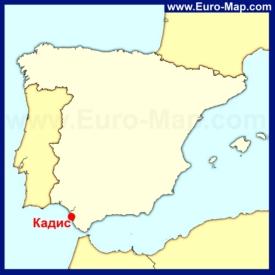 Кадис на карте Испании