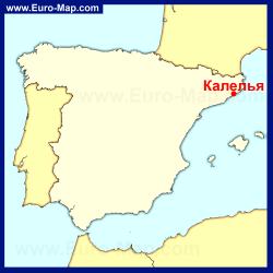 Калелья на карте Испании