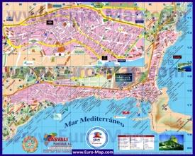 Туристическая карта Кальпе с отелями и достопримечательностями