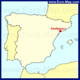 Камбрильс на карте Испании