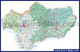 Карта юга Испании с курортами