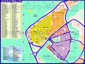 Туристическая карта Картахены с достопримечательностями