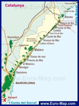 Карта побережья Каталонии с курортами