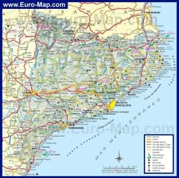 Подробная карта Каталонии