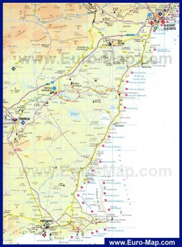 Карта побережья Коста-Бланка