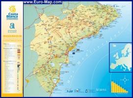 Подробная карта Коста-Бланка с отелями
