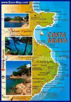 Туристическая карта Коста-Брава с курортами и отелями