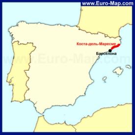 Коста-дель-Маресме на карте Испании